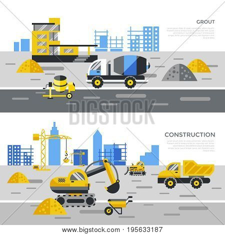 Digital vector yellow construction building tracks icons with drawn simple line art info graphic, presentation with crane, road, grout, excavator and cement elements around promo template, flat style