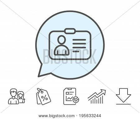 ID card line icon. User Profile sign. Person silhouette symbol. Identification plastic card. Report, Sale Coupons and Chart line signs. Download, Group icons. Editable stroke. Vector