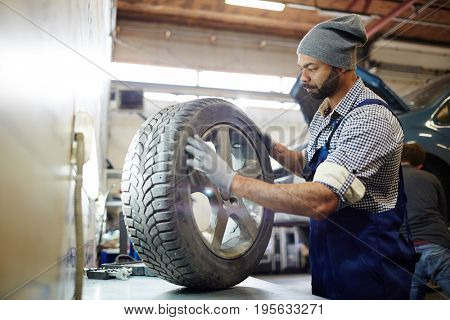 Master of car service choosing tire for change