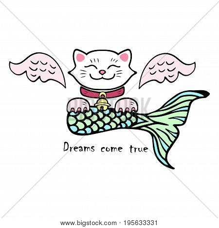 Dreams come true. Cute smiling cat with pink wings and fish or mermaid tail. Maneki Neko - Symbol of happiness, luck, success, love, riches.