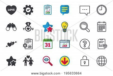 Valentine day love icons. I love you ring symbol. Couple lovers sign. Chat, Report and Calendar signs. Stars, Statistics and Download icons. Question, Clock and Globe. Vector
