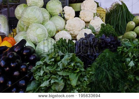 Fresh Vegetables And Herbs Are Sold At The Bazaar