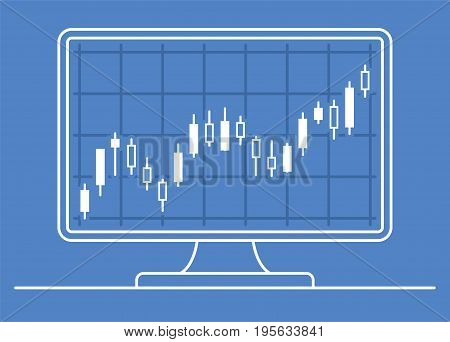 Computer monitor with candle chart of forex or stock data graphic in thin line style. Set of various indicators for stock forex trade. Online trading concept. Vector illustration.