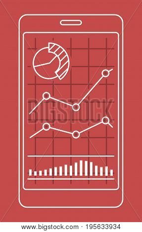 Smartphone with chart of forex or stock data graphic in thin line style. Set of various indicators for stock forex trade. Online trading concept. Vector illustration.
