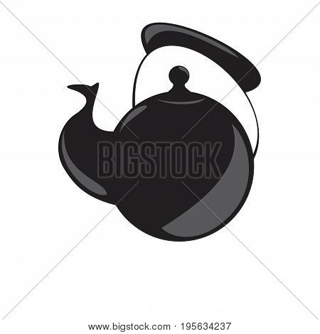Kettle cartoon icon. Kitchen tools, cookware and kitchenware vector illustration. Isolated on white