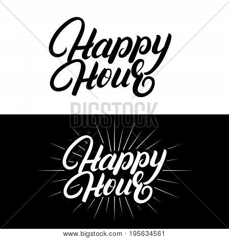 Happy hour hand written lettering. Modern brush calligraphy. Isolated on background. Vector illustration.