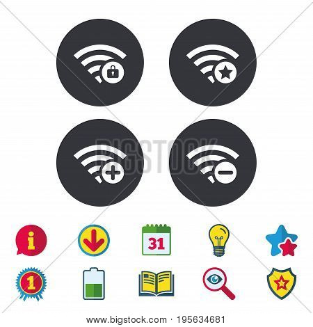 Wifi Wireless Network icons. Wi-fi zone add or remove symbols. Favorite star sign. Password protected Wi-fi. Calendar, Information and Download signs. Stars, Award and Book icons. Vector