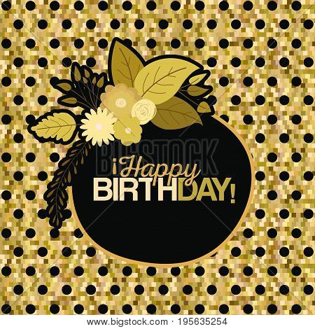 sepia color dotted background with frame with decorative flowers and text happy birthday inside vector illustration