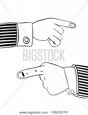 Pointing finger. Human hand indicates something important. Suitable as a element of your website design, advertising offer, info graphic, etc. Isolated on white background. Vector illustration.