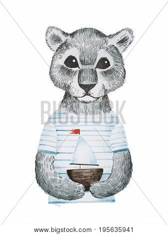 Full-face portrait of cute panther baby wearing striped t-shirt holding a toy ship hand-drawn with pencil and watercolors.
