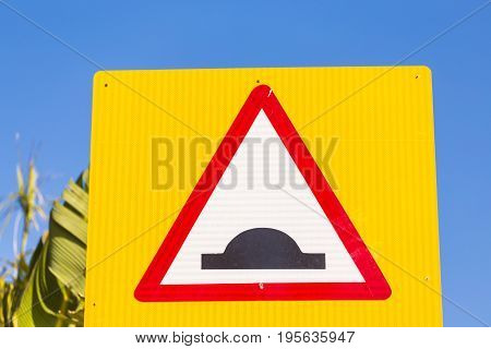 Warning traffic sign. Sign rough road with caution