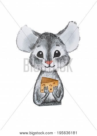Cute little mouse holding cheese with both hands hand-drawn.