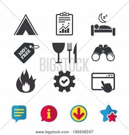 Food, sleep, camping tent and fire icons. Knife, fork and wineglass. Hotel or bed and breakfast. Road signs. Browser window, Report and Service signs. Binoculars, Information and Download icons