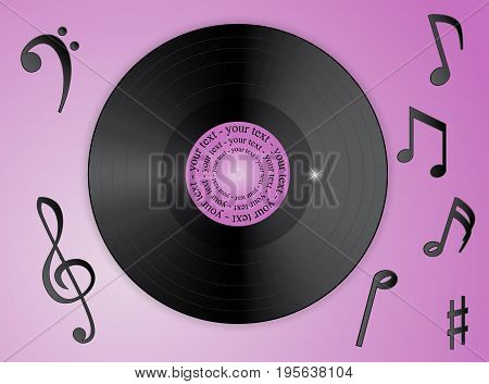 Music notes and vinyl record on a lilac background