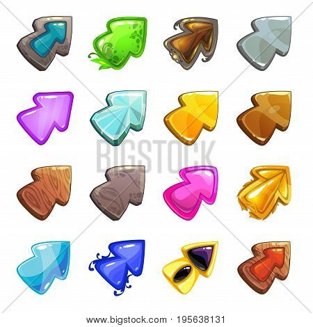 Cartoon vector arrows set. Isolated cursors for web or game design.
