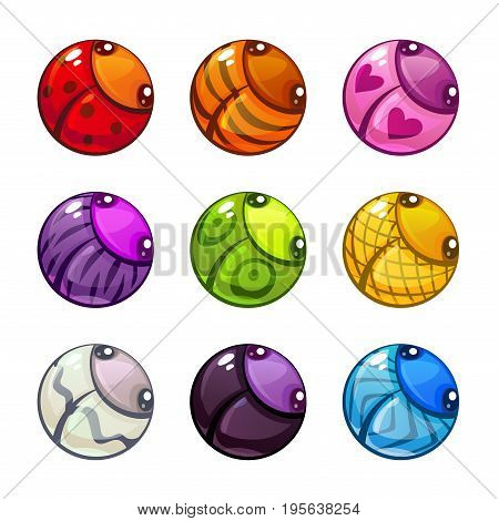 Cute colorful round bugs set. Vector assets for bubble game design. Isolated on white background.
