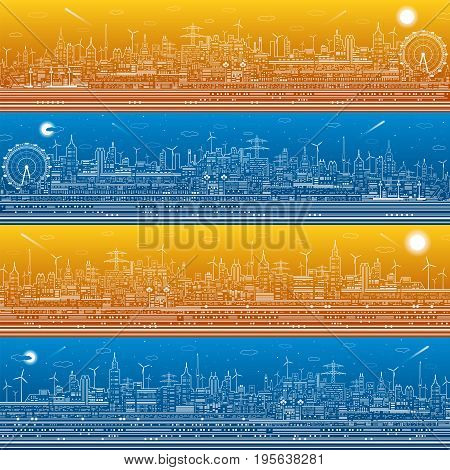 City infrastructure panorama set, town illustration, ferris wheel, modern skyline, white lines on blue and orange background, day and night, vector design art