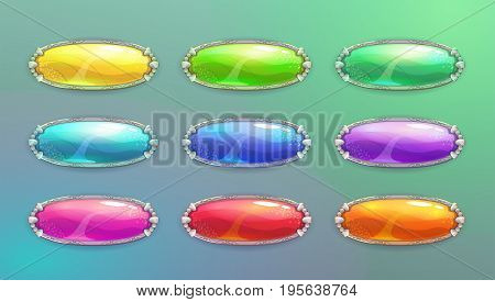 Cartoon long horizontal crystal buttons for web or game design. Vector shiny banners in medieval style. Colorful glossy GUI elements set.