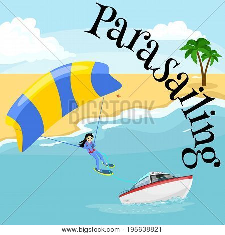 Parasailing water extreme sports backgrounds, isolated design elements for summer vacation activity fun concept, cartoon wave surfing, sea beach vector illustration, active lifestyle adventure