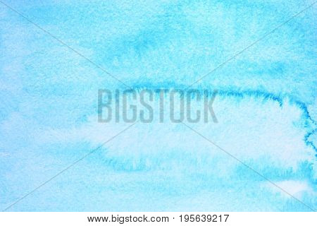 Cyan blue watercolor background with paper texture. Raster illustration