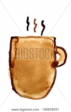 Coffee mug with steam sketched in coffee isolated on the white background. Raster illustration