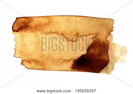 Coffee stain isolated on white background  - space for ext