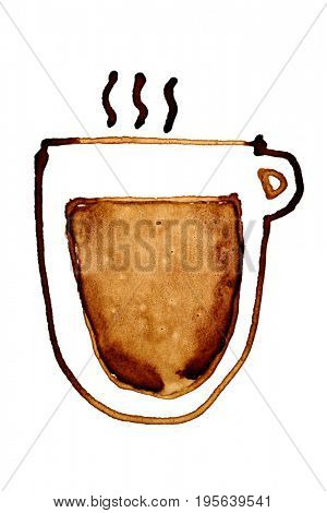 Coffee cup with steam sketched in coffee isolated on the white background. Raster illustration
