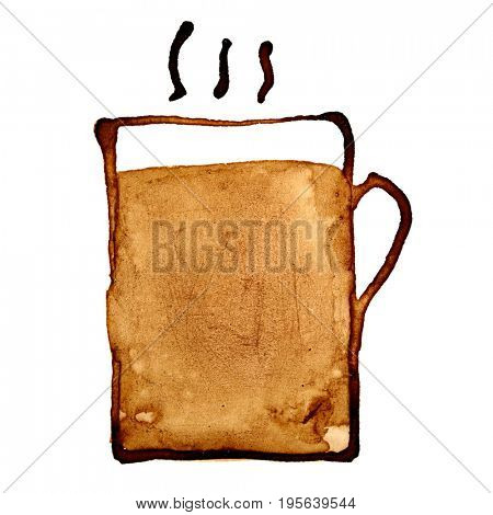 Americano - Coffee mug with steam sketched in coffee isolated on the white background. Raster illustration