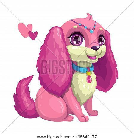 Little cute dog with long ears. Sitting puppy girl, vector girlish illustration. Isolated princess pet icon.