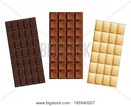 Dark and milk candy chocolate bars . Vector illustration