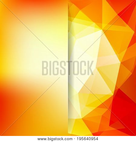 Background Made Of Yellow, Orange Triangles. Square Composition With Geometric Shapes And Blur Eleme