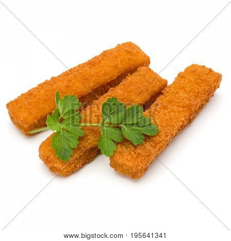 Crispy Fish fingers and parsley leaves  isolated on white background