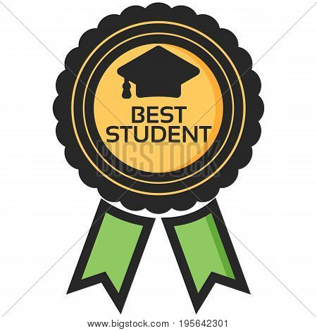 Simple Vector Icon of a classic encouragement badge in flat style. Pixel perfect. Basic education element. School theme. Back to college.