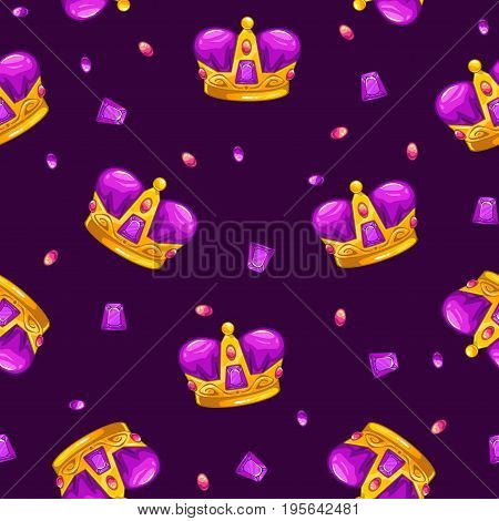 Seamless pattern with cartoon golden king crowns and colorful gemstones. Vector texture tile