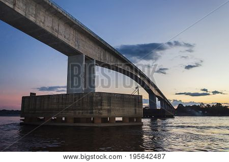 Bridge Over The Rio Madeira River In Porto Velho On Dusk