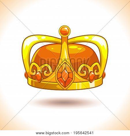 Fancy cartoon vector golden crown icon, isolated on white. Game trophy asset.