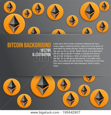 Ethereum coin symbols on dark background with space for text. Concept of ICO Blockchain and cryptocurrency. Business Vector Illustration.