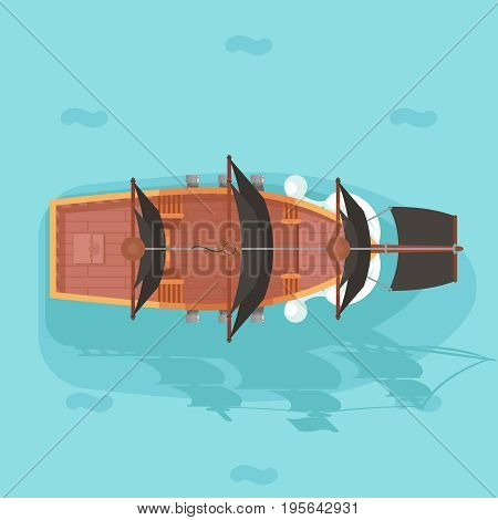 Top view vintage wooden pirate buccaneer filibuster corsair ocean sea dog ship sail boat game icon flat design vector illustration