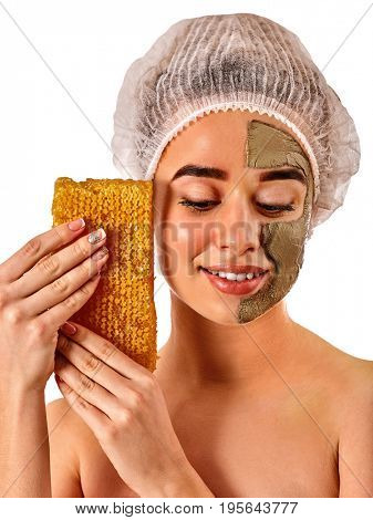 Facial honey clay face mask for woman . Honeycombs natural homemade organic threatment. Skincare health idea on isolated. Girl with close eyes.