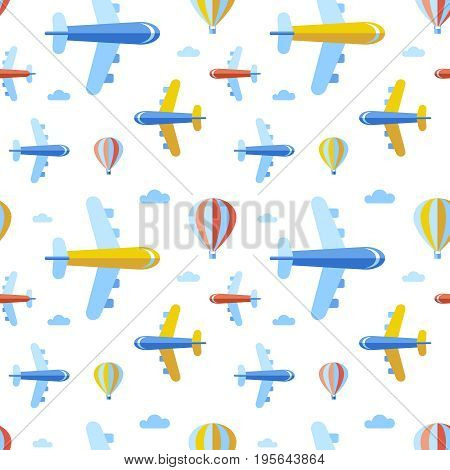 Digital vector blue red travel transport icons set with drawn simple line art info graphic, seamless pattern, presentation with balloon, plane and vehicle elements around promo template, flat style