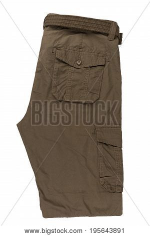Men's pants isolated on white background. Top view.