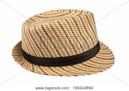 Hat with a brim .Hat isolated on white background. Selective focus.