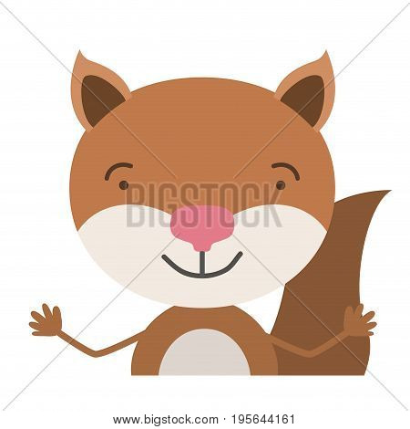 colorful half body caricature of cute chipmunk happiness expression vector illustration