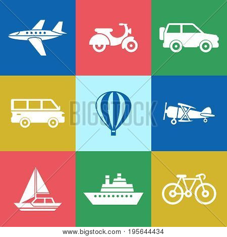 Digital vector red green blue travel transport icons set with drawn simple line art info graphic, presentation with car, plane and vehicle elements around promo template, flat style