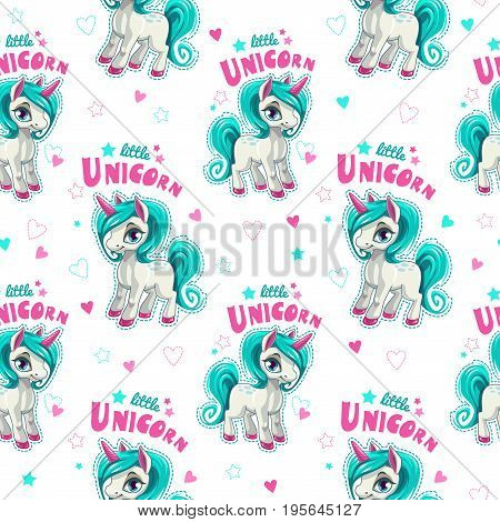 Cute seamless pattern with funny cartoon unicorns and hearts on white background. Vector girlish texture.