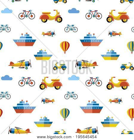 Digital vector blue red travel transport icons set with drawn simple line art info graphic, seamless pattern, presentation with boat, plane and vehicle elements around promo template, flat style