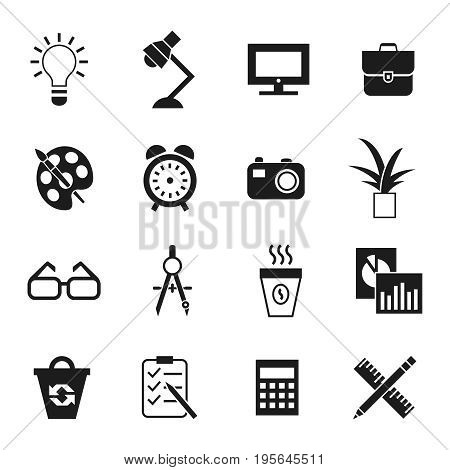 Digital vector black work space icons set with drawn simple line art info graphic, presentation with clock, calculator and office supplies elements around promo template, flat style