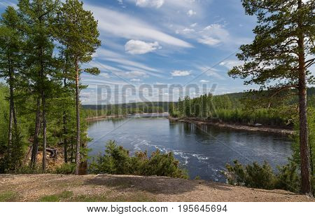 View of the Chulman River in South Yakutia Russia in early June