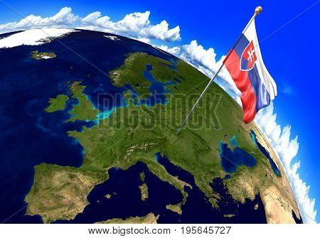 Slovakia national flag marking the country location on world map. 3D rendering, parts of this image furnished by NASA