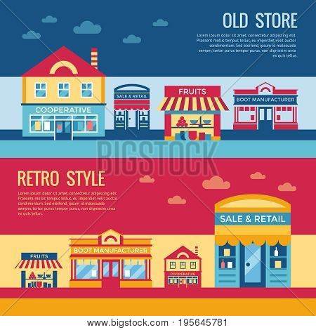 Digital vector red blue retro supermarket icons with drawn simple line art info graphic, presentation with commerce, shopping building elements around promo template, flat style